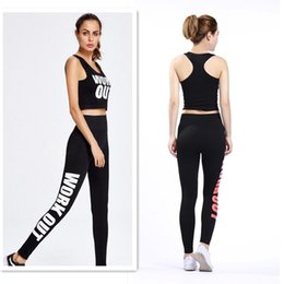 $enCountryForm.capitalKeyWord Canada - Free Size Women Yoga Sportswear Work out Vest Pants Bodycon Jumpsuit Letter Printed Bra Tops Tights Pants Sport Suits Lady Jogging Suit
