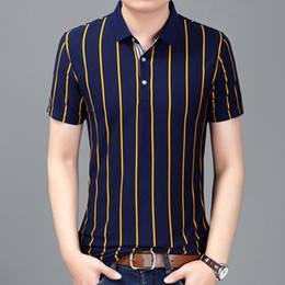 Wholesale polo classic fit shirts for sale – custom New Business Classic Stripes Men Polo Shirt Slim Fit Short Sleeve Cotton Brand Clothing Fashion Summer Mens Polo Shirts Xxxl
