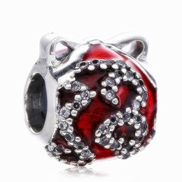 Bracelets Made Glass Beads Australia - New Authentic 925 Sterling Silver Bright Ornament Crystal Beads Red Enamel Christmas Fruit Fit Charms Bracelets DIY Jewelry Making