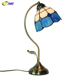Styles Glasses Blue NZ - FUMAT Brief Table Lamps European Style Hand-made Tiffany Stained Glass Blue Lampshade Table Light For Living Room Bedside Lamps