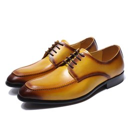 c75b44c0870 FELIX CHU Genuine Real Leather Mens Derby Shoes Yellow Plain Toe Rubber Sole  Casual Footwear Man Dress Shoes  E76089-19
