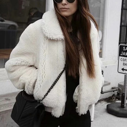 White Short Sleeve Faux Fur Australia - Fashion Stylish Faux Fur Coat Women 2018 Autumn Winter Warm Soft Zipper Fur Fur Jacket Female Plush Overcoat Casual Outerwear
