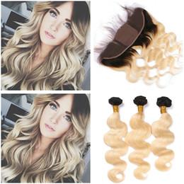 1b 613 closure online shopping - B Blonde Ombre Virgin Brazilian Human Hair Bundles with Silk Base x4 Lace Frontal Closure Body Wave Blonde Ombre Hair Weaves