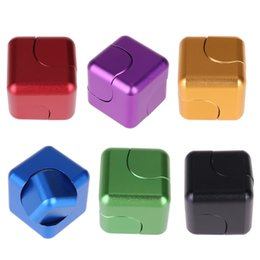 Rotating Cube Toy NZ - Aluminum Alloy Magic Cube Hand Spinner Magnetic Rotating Finger Toy Funny Fidget Cube Spinner ADHD Decompression Fingertip Gyro