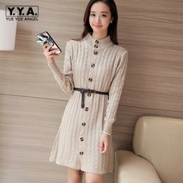 Discount ladies cotton knit cardigans - Winter New Fashion Womens Cardigan Coat Female Stand Collar Lady Winter Knit Long Sleeve Cotton Sweater Belts Sweaters S