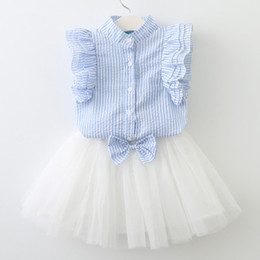 $enCountryForm.capitalKeyWord UK - 2018 baby girl summer clothes sets infant toddler girl fly sleeve T-shirt+bowknot tutu skirt children korean style clothing
