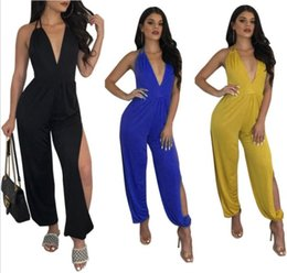 752c3c8cb603 Women Deep V-neck Jumpsuits Summer Backless Halter Split Hollow Out Rompers  One-Piece Trendy Sexy Overalls Bodysuit High-waist Jumpsuits