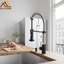 $enCountryForm.capitalKeyWord Australia - wholesale Matte Black Pull Down Kitchen Spring Faucet Single Level Mixer Tap 360 Rotation 2-way Pull Out Spray Kitchen Faucet