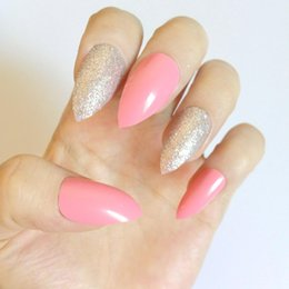Short Round Oval 023 Health & Beauty Pale Pink Glitter Silver Flowers Hand Painted False Nails