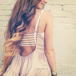Sexy Réservoir Summer Womens Bralette Caged Solide Retour Cut Out Sous-vêtements Soutien-Gorge Bralet Gilet Crop Top en Solde