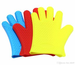 HigH Heat resistant oven mitts online shopping - ON SALE Free shipment JI Food Grade High Heat Resistant Thick Silicone Barbecue Microwave Oven Gloves Cooking BBQ Grilling Mitt Bak