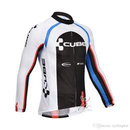 shrink polyester jacket 2019 - New cube Bike jersey Cycling Jersey Long Sleeve jacket bike maillot men Cycling Clothing MTB Cycle Clothes Ropa Ciclismo
