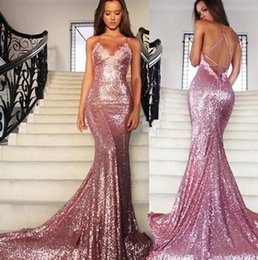 $enCountryForm.capitalKeyWord NZ - Rose Pink Glitz Sequined Mermaid Prom Dresses 2017 Spaghetti Strap Sexy Backless Sweep Train Formal Evening Dresses Women Party Gowns BA2384