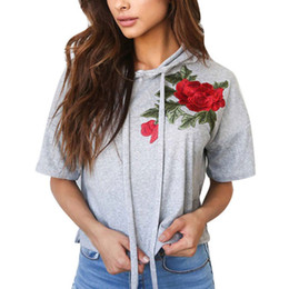 Cropped Tees Australia - New Women Short Sleeve Embroidery Flower Plain Hooded Crop Top T-shirt Summer Basic Tee Tops T-shirt Femme