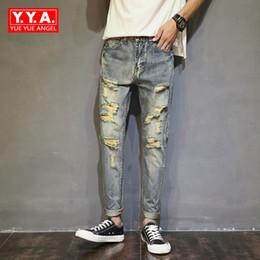 48fbc2bdf Moda jeans masculinos Nuevo 2018 Pantalones Lápiz Recto Sólido Agujero  Rasgado Jean Para Hombres Pantalones Rockstyle Vaqueros Pantalones Cómodos  Para ...