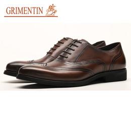 Male Leather Shoes Sale Australia - GRIMENTIN Hot Sale Mens Oxford Shoes Genuine Leather Black Brown Formal Men Dress Shoes Italian Fashion Business Wedding Male Shoes YJ01