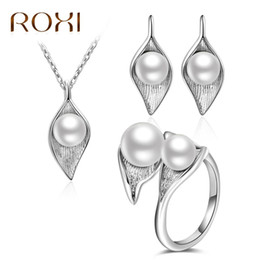 ring shaped earrings Australia - ROXI Simulated Pearl Jewelry Set For Women Silver Color Flower Shape Pendant Necklace Earrings Ring Wedding Bridal Jewellry R1