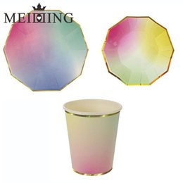 Discount paper plates cups wholesale MEIDDING-Iridescent Dinner Tableware Paper Party Plates Cups for New  sc 1 st  DHgate.com & Discount Paper Plates Cups Wholesale | 2018 Wholesale Paper Plates ...