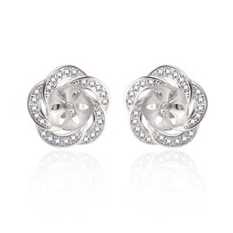 c272aa2f7 100% 925 Sterling Silver Female Stud Earrings Mount Clear AAA Cubic Zircons Fashion  Jewelry Setting