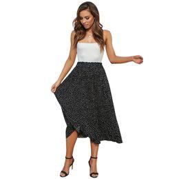 53230df50be Women High Waist Polka Dot Pleated Midi Skirt Ladies Elastic Waist Print  Skirts Beach Boho Vintage Big Swing Skirts