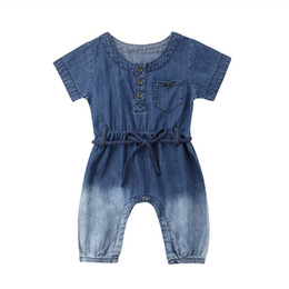 7e41faa0f8e5 Toddler Baby Kids Girls clothes round neck short sleeve Button Romper  cotton summer newborn Geometry Jumpsuit one pieces