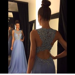 White Maxi Prom Dresses Australia - Linyixun Real Photo Sexy O Neck A Line Chiffon Lace Appliques Beaded Light Blue Long Prom Dresses 2017 Court Train Prom Gowns C18111601