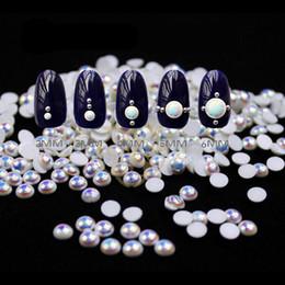 $enCountryForm.capitalKeyWord NZ - MIOBLET 100pcs White AB Colour Pearl Nail Rhinestone Round Pearls Semicircle Flat Back 3D Nail Art Rhinestones DIY Manicure Deco