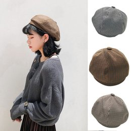 80dfaadeacbc0 New Vintage Houndstooth Beret Autumn And Winter New Style Warm Beanie Hat  Unisex Artist Ski Cotton Cap Khaki Black Coffee Color