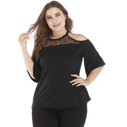 e49f0196f30a5 Women Plus Size T-shirt Solid Floral Lace Splicing Cold Shoulder Female T- shirts Round Neck Half Sleeve Casual Summer Tops Black