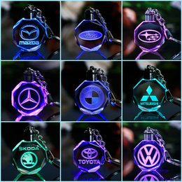 Discount keyring engraving - Customized Car Logo Keychain Laser Engraved Crystal Keyring Styling Keychain with Colorful LED Light Souvenir Gift 868