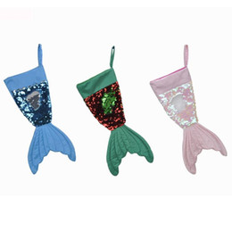 Wholesale Christams Decorations Mermaid Christams Stocking Gift Wrap Bags Bling Bling Bead Flip Tail Socks Xmas Home Decor Colors inch