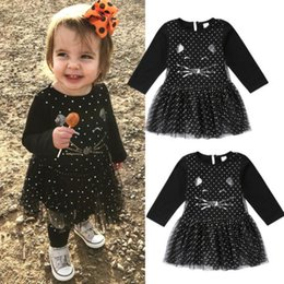 Wholesale Halloween Kids Girls Dresses Baby Black Cat Dot Princess Tulle Long Sleeve Tutu Dress Sequin Girl Clothes Dress Boutique Clothing