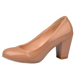 Toed Shoes For Women NZ - SJJH 2018 Patent Leather Pumps with Round Toe and Chunky Heel Elegant OL Style Shoes for Fashion Women with Large Size Available A129