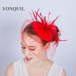 NEW ARRIVAL multiple colors kentucky mesh flower fascinators with feather  derby Occasion red cocktail hats wedding hair accessories SYF195 1be01750164f