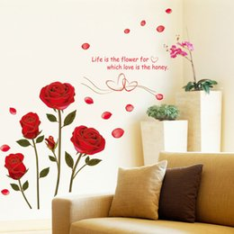 Discount self stick flower decals - Flying Red Rose Love Quotes Romantic Flower Wall Sticker For Bedroom Wedding Decoration Art Home Decor Decal Muralhaif