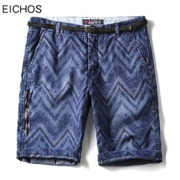 EICHOS Men Shorts Verano 2018 Jeans Shorts Men Denim Zip Decoración Moda Washed Short Male Casual Rodilla Longitud