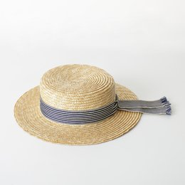 Boater Hat Women Summer Sun Hat Fine Straw Hats 2018 Fashion Top Quality  Ladies Hats 681004 e5e004c9cadb