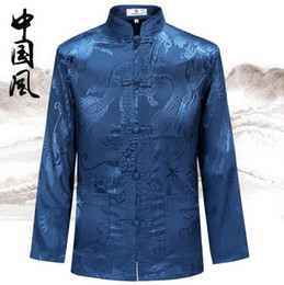 5596ea9f5b0 Chinese silk jaCket men online shopping - Spring and Autumn elderly men s  long sleeved suits