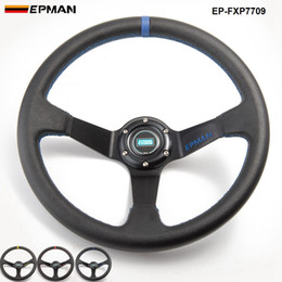 Wholesale EPMAN -14inch 350mm Deep Corn Drifting PVC Steering Wheel Universal Car Auto Racing Steering wheels EP-FXP7709