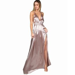 Plunge maxi dress sexy online shopping - Maxi Party Dress Women Pink Plunge Neck Sexy Cross Back Wrap High Slit Summer Dresses Elegant Club Long Cami