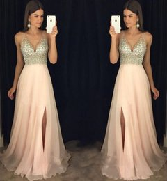 prom dress chiffon slit crystal Australia - 2019 Bling Bling Luxury long Prom Dresses cap Sleeve A line Crystal Sexy V neck chiffon side slit formal evening Party prom gowns