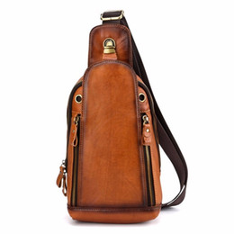 cross chest man bags 2020 - Men First Layer Cowhide Genuine Leather Chest Sling Bag Satchel Cross Body Shoulder Messenger Pack Vintage Hiking Travel