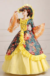 cosplay medieval Canada - 100%real printing ruffled ball gown with hat Medieval Renaissance Gown cosplay ball gown Victorian dress Belle Ball