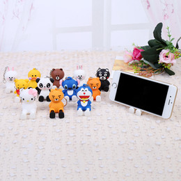 Wholesale Universal mobile phone holder bracket phone stand telescopic desktop support base cartoon cute key pendant Hello Kitty Doraemon