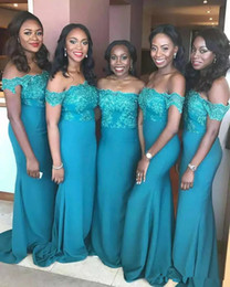 Discount turquoise white mermaid wedding dress - Turquoise Teal Blue Mermaid Bridesmaid Dresses Off Shoulder Lace Applique African Wedding Guest Maid of Honor Gowns 2019