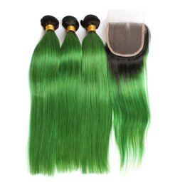 Green ombre weaves online shopping - Doheroine Pre Colored Human Hair Bundles With Lace Closure Bazilian Straight Human Hair Bundles With Closure B Green Ombre Color Bundles