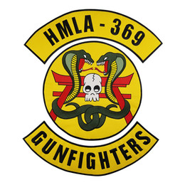 Bikers Back Patches Australia - HMLA-369 GUNFIGHTERS MC Club Biker Vest Embroidered Patch Full Back Large Pattern For Rocker Vest Patches for clothing Free Shipping