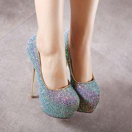 1257ff8183f34b 2018 Plus Size Women Summer Sequins 16.5cm High Heels Sandals Female  Glitter 6cm Platform Bling Fetish Scarpins Shoes Lady Pumps