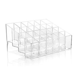 wholesale eco makeup brushes Australia - 24 Divisions Clear Transparent Arylic Cosmetic Organizer Lipstick Brushes Holder Ladder Display Stand Makeup Jewelry Storage Box