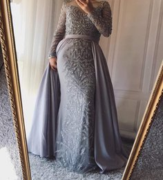 Discount sequin beads design gown - New stunning sequins beads long sleeve prom party dresses detachable skirt 2 pieces evening gown Design